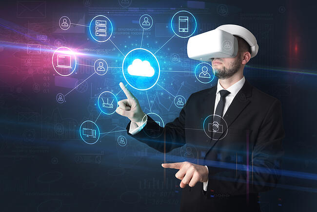 Businessman in vr glasses organize lifesize projected social media concept