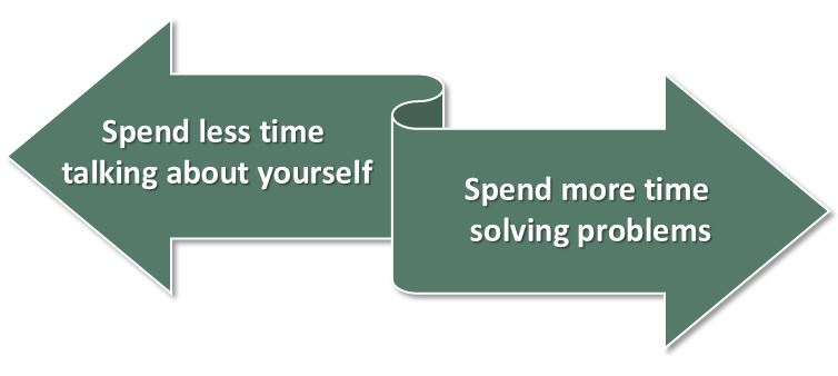 spend less time talking about yourself and more time solving problems