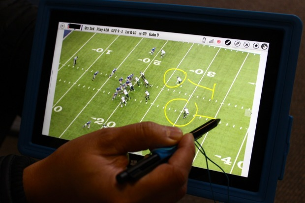 screen showing logistics of football play